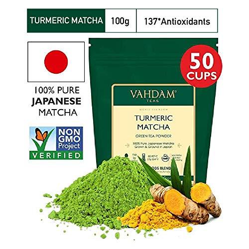 KURKUMA + MATCHA Grüner Teepulver - LEISTUNGSFÄHIGE SUPERFOODS (100 g, 50 Tassen), 100% reines, ungemischtes japanisches Matcha-Pulver, 137 x ANTI-OXIDANTS | Steigert Energie, Fokus und Stoffwechsel