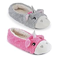 Ladies Enchanting Novelty Unicorn Plush Lined Ballet Ballerina Slipper With Fabric Non-Slip Sole