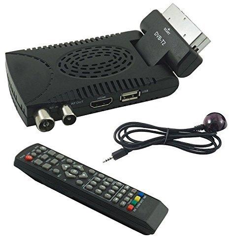 Generico Tempo Decoder Digitale Terrestre HD Mini Dvb T2 USB Hdmi Presa Scart 180° Televisione Ricevitore, Nero