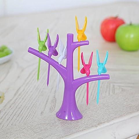 Y & B creative Arbre Fourchette de Fruits avec 6Birdie