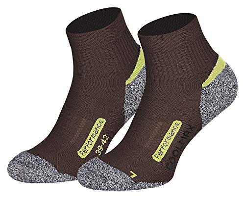 Piarini 2 Paar Coolmax Wandersocken Outdoorsocken Funktionssocken kurz | braun 39-42 -