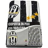 Carillo Coperta Plaid Invernale in Pile Juve Juventus Ufficiale 160x240 con Balza Doppia Disegno Continuo