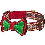 Blueberry Pet 1,5cm S Weihnachten Norweger-Inspiriertes Schneeflocken Designer Hundehalsband mit Fliege, Kleine Halsbänder für Hunde