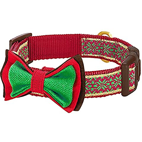 Blueberry Pet Christmas Nordic-inspired Snowflakes Designer Dog Collar with Detachable Bow Tie, Neck 45cm-66cm, Large, Holiday Collars for Dogs