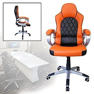 HG® silla giratoria de oficina silla de juego confort premium apoyabrazos tapizados silla de carrera capacidad de carga 200 kg altura ajustable negro / naranja