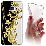 Huawei Honor 7 Softcase Hülle Cover Backkover Softcase TPU Hülle Slim Case für Huwaei Honor 7 (1092 Ranke Schwarz Weiß Gold)
