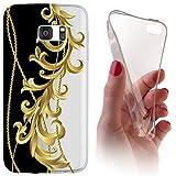 Samsung Galaxy Note 4 Softcase Hülle Cover Backkover Softcase TPU Hülle Slim Case für Samsung Galaxy Note 4 (1092 Ranke Schwarz Weiß Gold)
