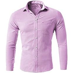 Camisa oxford de hombre, cuello con botón, Slim Fit, camisa elástica casual/formal para hombre, Rosa, 40