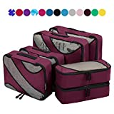 6 Set Packing Cubes,3 Various Sizes Travel Luggage Packing Organizers (Burgundy)