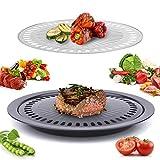 Janolia Piatto Griglia, Griglia Coreana, Ferro di Acciaio Inossidabile No Stick, Con Meno Humo, Usato per Barbecue, ha 2 pezzi Separati per Carne e Verdure