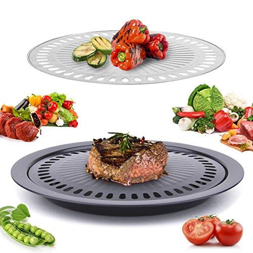 Janolia Plancha Barbacoa Coreana, Plancha de Acero Inoxidable no Agarrada, con Menos Humo, Se Utiliza para Barbacoa, Tiene 2 pza Separadas para Carne y Verturas