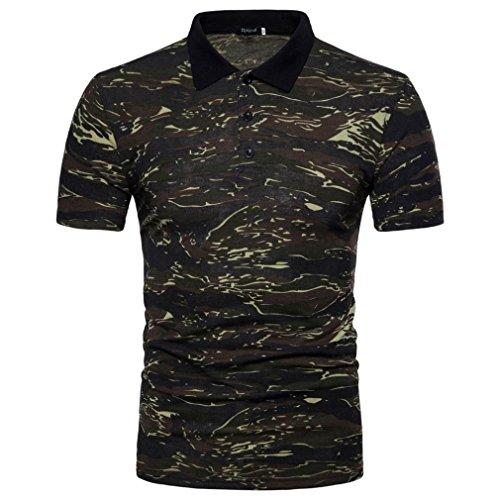 Umlegekragen-Ausschnitt,Jaminy Herren Polo Shirt Casual Camouflage Print Turn-Down Kragen T-Shirt Top Bluse (Grün, L) (Tommy Hilfiger Hawaii)