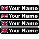 4 x Personalised Bike Name Frame Stickers Vinyl Decal Cycle Mountain Bike BMX Helmet Personalised Any Flag by Ellis Graphix (Black Background / White Text)