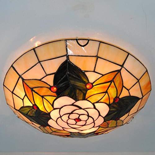 Tiffany Style Deckenleuchte Flush Deckenleuchte, 16 Zoll Top Blume Glasmalerei Schatten hängen für Wohnzimmer Anhänger Beleuchtung 3 Licht -