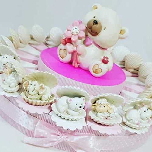 Sindy bomboniere bomboniera battesimo nascita femmina con animaletti nella conchiglia e salvadanaio centrale + confetti rosa al cioccolato crispo