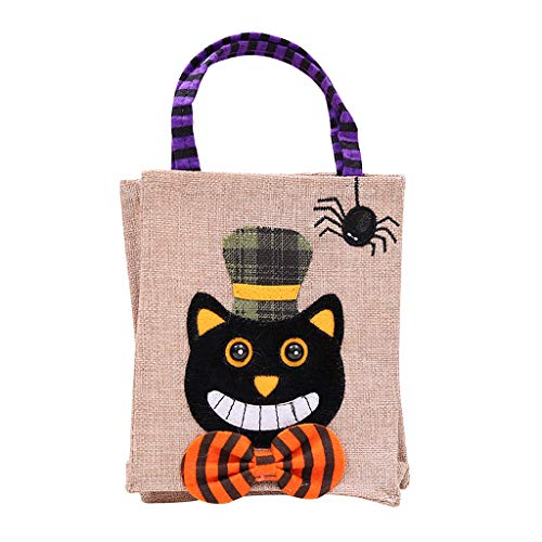 ZJL220 Trick Or Treat Halloween Candy Gifts Tote Bags Basket Pumpkin Linen Party Decor - Brosche Candy