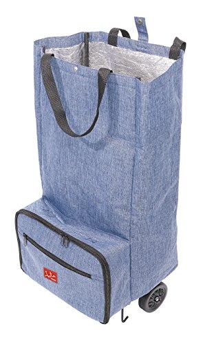 Jata Hogar Trolley Tasche mit Tragegriff und Rollen Extra starke faltbar, Polyester, Aluminium und PVC-Folie, blau, 32x 27x 70cm