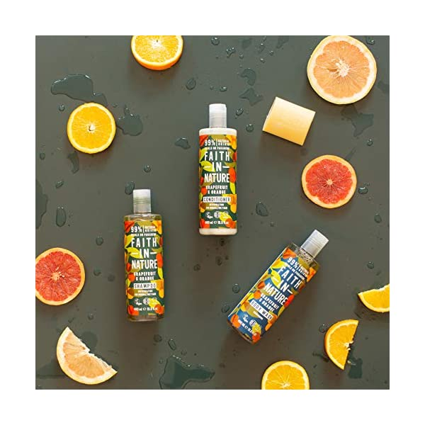 Faith In Nature Grapefruit and Orange Shampoo, Conditioner and Body Wash Trio | Vegan | Cruelty Free | 99% Natural Fragrance | Free From SLS or Parabens 5