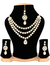 Cardinal Traditional Stylish Latest Design Party Wear Fashion Jewellerry Necklace Pendant Set With Earring And...