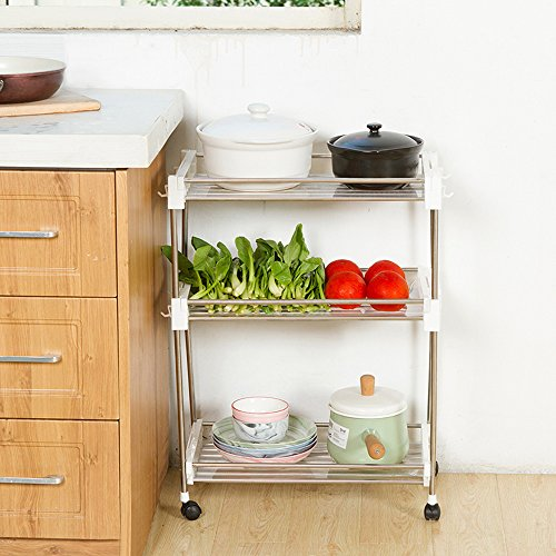 aiyoo Küche Slide Out Storage Tower Rack 2 Etagen Rolling Cart Rollwagen Regal Mobile Regal Organizer mit Universal Rollen für Küche/Badezimmer/LAUNDRY ROOM/Pantry Organisation 3-Tier weiß (Pantry-speicher-körbe)