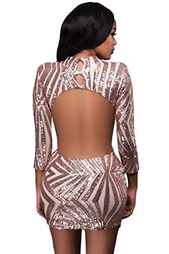 a Maniche Lunghe Hollow Out Open retro Sequin Sequined Mini Bodycon Aderente Fasciante Vestito Abito Oro