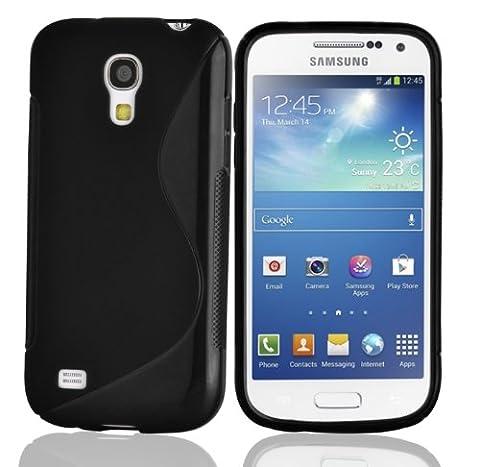 Cadorabo - Design 'S' Housse Gel (silicone) pour Samsung Galaxy S4 MINI I9190 - Etui Coque Case Cover Bumper en NOIR DE JAIS