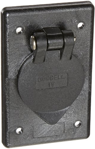 Hubbell Wiring Systems TV97 Polycarbonate Cable TV Outlet with Coax Connector and Gasketed, Black by Hubbell Wiring Systems -