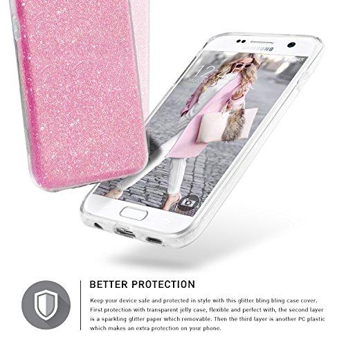 Bling Bling Samsung Galaxy S6 Hülle, TheBlingZ.® Bling Bling Strass Glitzer TPU Hybrid Schutzhülle für Samsung Galaxy S6 - Gold Rosa