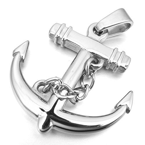 nhänger Halskette Silber Ton Anker Segeln Nautisch Herren ,mit 58cm Kette (Nautische Halskette)
