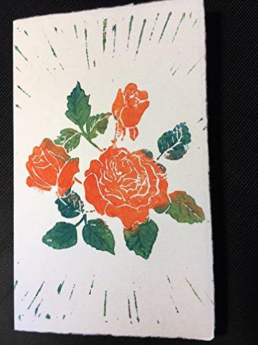 Handgedruckte Klappkarte mit Umschlag aus Büttenpapier 'Rose'