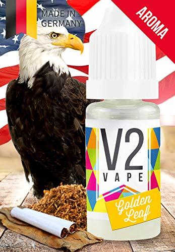 V2 Vape Golden-Leaf-Tabak AROMA / KONZENTRAT hochdosiertes Premium Lebensmittel-Aroma zum selber mischen von E-Liquid / Liquid-Base für E-Zigarette und E-Shisha 100ml 0mg nikotinfrei - Kirsche Drop-leaf