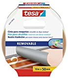 Tesa 55731-00016-00 Cinta de Doble Cara removible con Dorso de Tejido, 10 m x 50 mm, Color Blanco