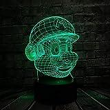 Clásico Juego de Dibujos Animados Figura Super Mario 3D LED Lámpara de Acrílico Novedad Regalo de Iluminación de Navidad RGB Touch Controlador Remoto Juguetes