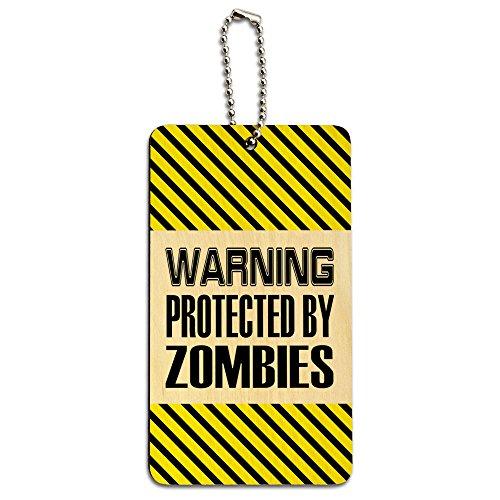 on Zombies Holz ID-Tag Gepäck-Koffer Handgepäck (Achtung Zombie)