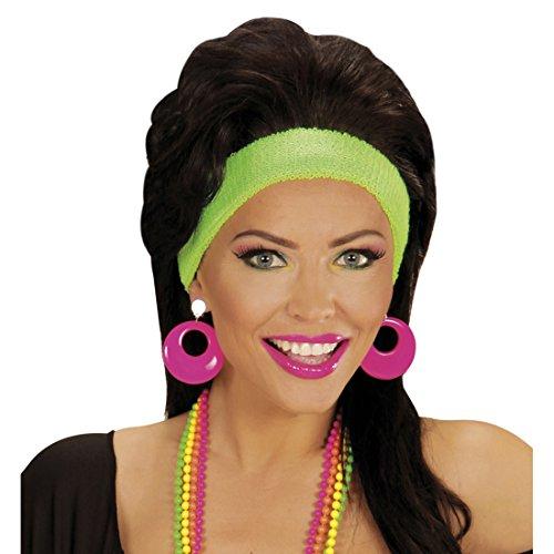 Creolen Modeschmuck Neon Ohrringe pink Mode Ohrstecker 80er Jahre Damen Schmuck Party Outfit Verkleidung 90er Ohrclips (Creolen Neon)