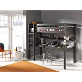 Vipack PIOLBU15 Pino Lit Mezzanine avec Grand Bureau Pin Massif/MDF Taupe 209 x 105 x 180 cm