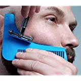 Peine para la barba–Plantilla para los hombres–ligero y flexible–Talla única–Copa curva–Herramientas de forma–borde Contour línea de barba, bigote, con trabillas y frente