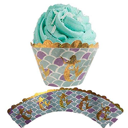 Cupcake Wrappers Hochzeit Cupcake Dekoration Geburtstag Baby Baby-Dusche wickeln, 24-Pack (Meerjungfrau-baby-dusche Dekorationen)