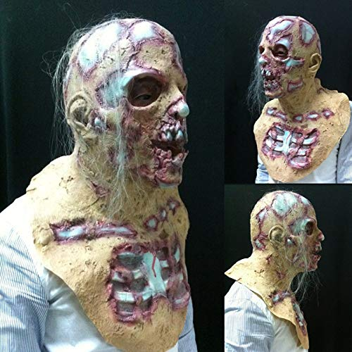 Dastrues Halloween Prop Walking Dead Látex Máscara Full Head Horror Zombie Máscaras Costume Party Decoration