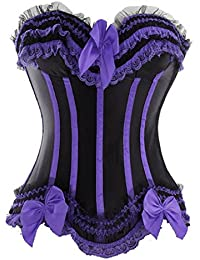 E-Girl Eleant bowknot Décor corset bustier,Darkpurple