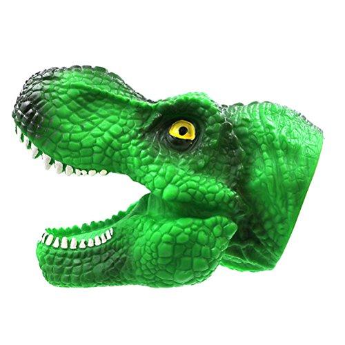 Toyvian Tyrannosaurus Rex Burattino a mano in silicone realistico giocattolo Dinosauro bocca dentista morso dito Sounding Game Giocattolo divertente (verde)