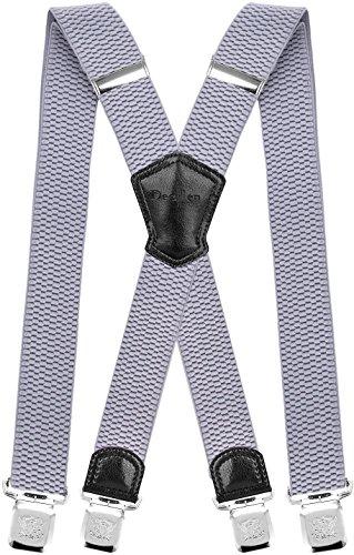 Decalen Hosenträger für Herren Breit 4 cm mit sehr Starken 4 Metall Clip Lang Einheitsgröße für Männer und Damen Einstellbar und Elastisch X Style (Hellblau 1)