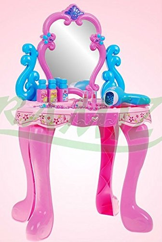 Kinderschminktisch – Frisiertisch – Schminkkommode – Schminktisch – Schminkstudio – Kinderschminktisch Set mit Spiegel, Haartrockner und Zubehör - 2