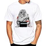 Luckycat Sommer Fashion Tier Print T-Shirt mit kurz Ärmel für Herren, Weiß Cool Causal Langarm T-Shirt (Musterdruck 1, L(AsianL=EUM))