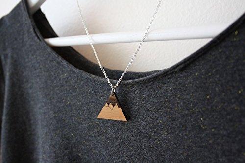 Collier Pendentif Montagne Homme Ou Femme Unisexe Triangle Bois