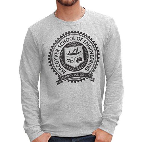 Sweatshirt MCGYVER SCUOLA IMPROVVISA O MUORI - FILM by Mush Dress Your Style - Herren-XXL-Grau Lost-t-shirt Sweatshirt