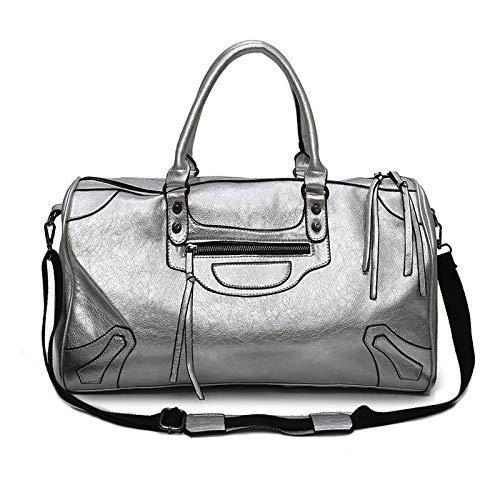 Mode Frauen Reise Tasche Männer Weekender Große Leinwand Duffle Bag Kapazität Pu Soft Case Kissen Pack Gepäcktaschen Silber -