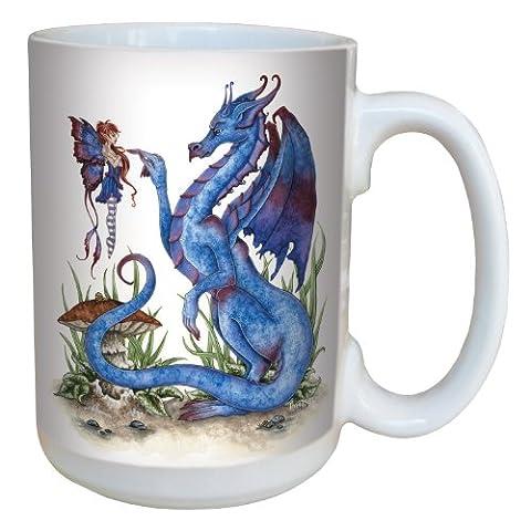 Tree-Free Greetings lm43581 15 oz Fantasy Attitude Dragon and Fairy Ceramic Mug with Full Sized Handle,