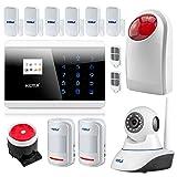 KERUI 8218G Voix FR! Kit Système Alarme Maison sans Fil GSM PSTN/RTC, Sirène Extérieure, Accueil Anti-vol de Portes et fenêtres détecteur de Mouvement de magnétisme