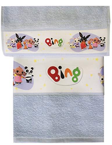 Set spugna bing coppia 2 pezzi 1+1 ospite 30 x 50 + asciugamano 55 x 100 bassetti spugna di puro cotone asilo scuola materna (bing celeste)